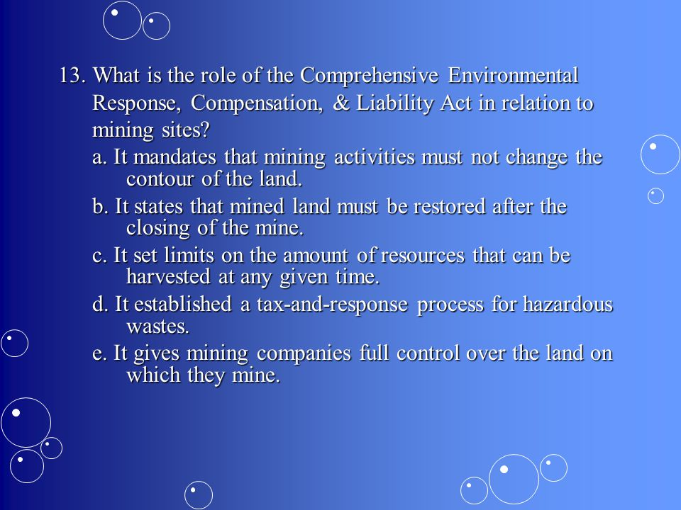13. What is the role of the Comprehensive Environmental