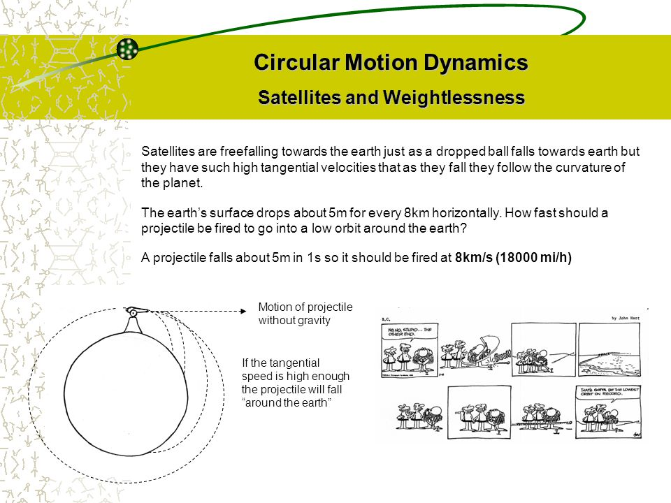 Circular Motion Dynamics Satellites and Weightlessness
