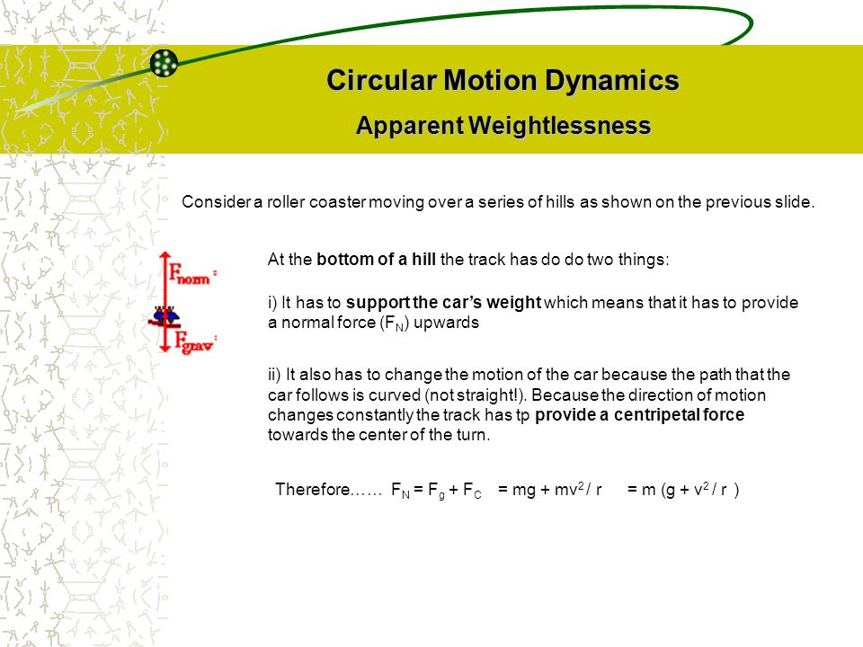 Circular Motion Dynamics Apparent Weightlessness