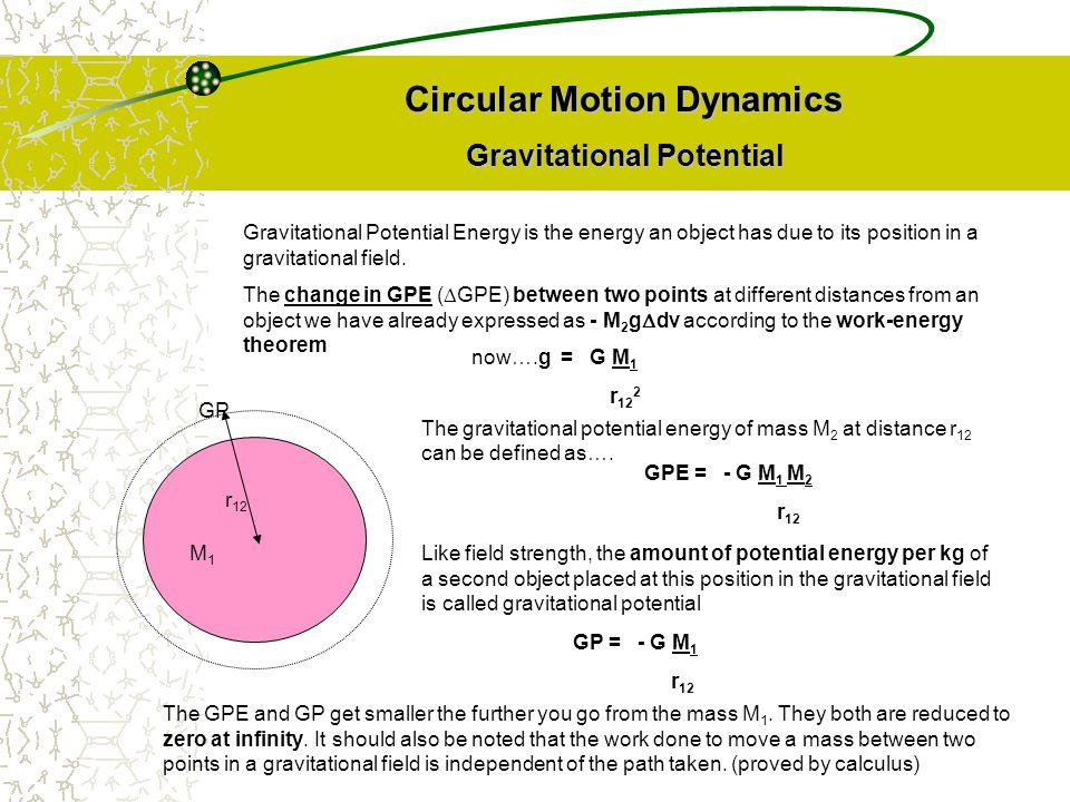 Circular Motion Dynamics Gravitational Potential