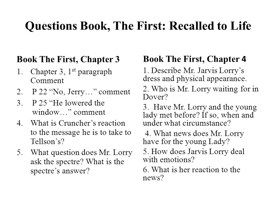 Questions Book, The First: Recalled to Life