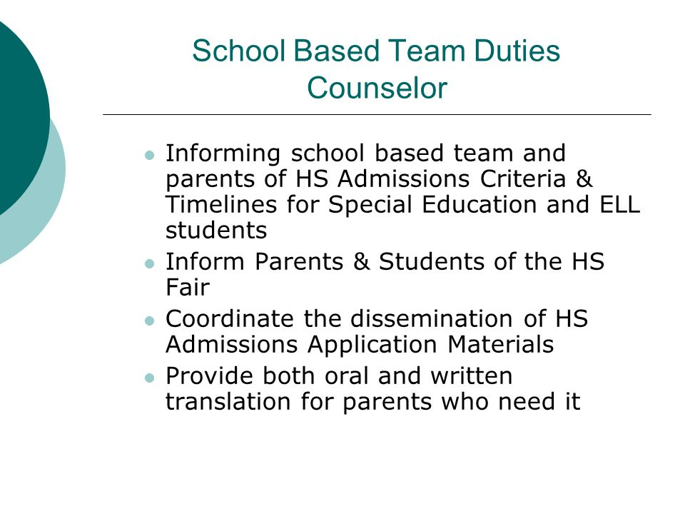 School Based Team Duties Counselor