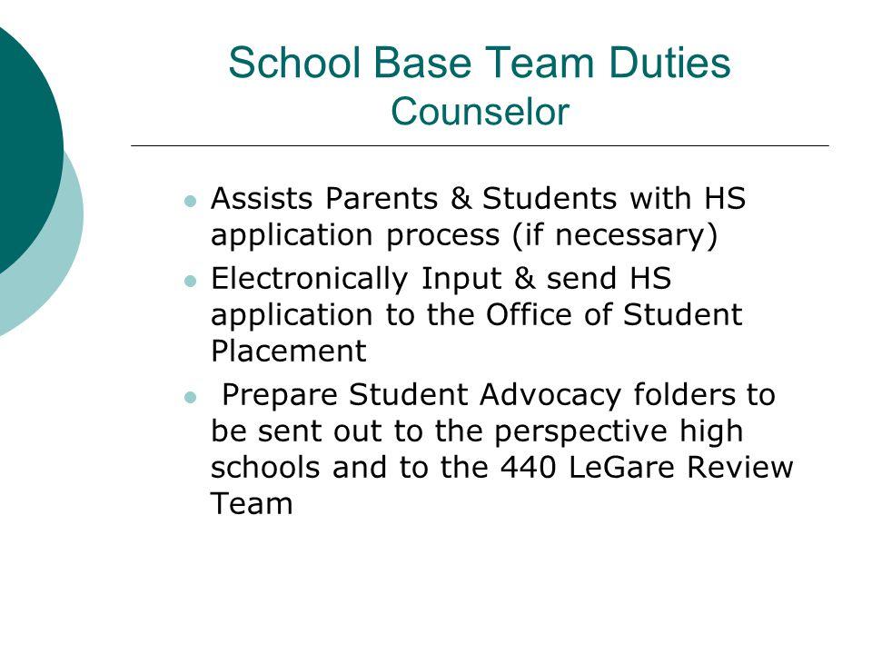School Base Team Duties Counselor