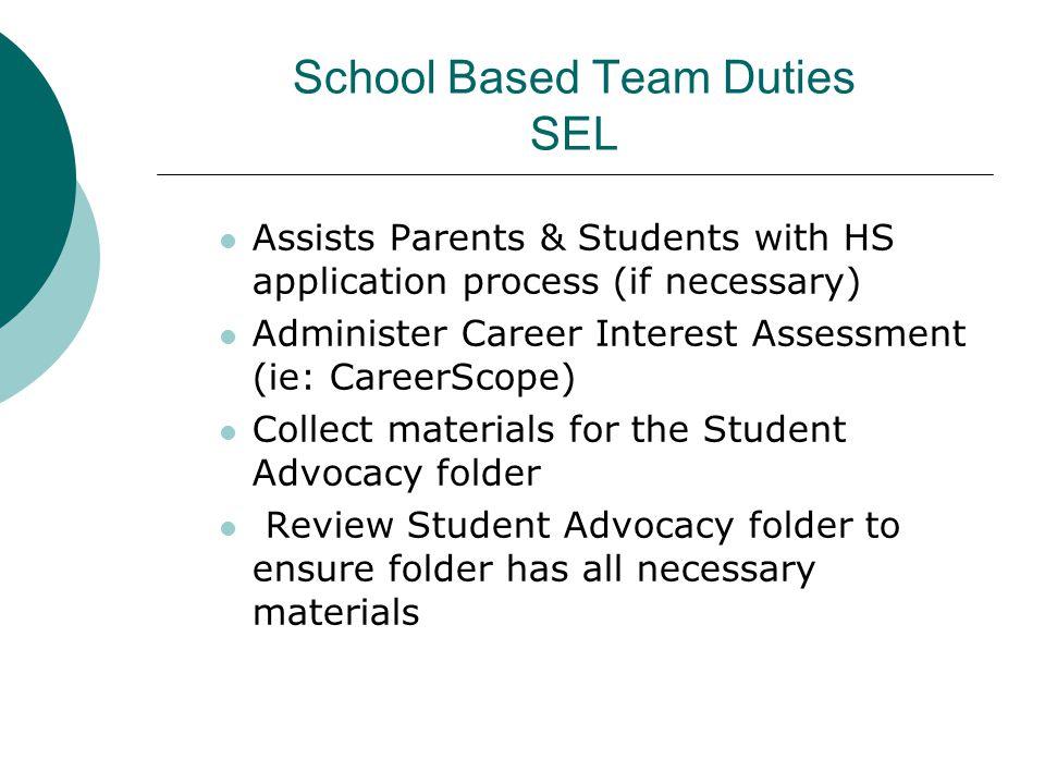 School Based Team Duties SEL