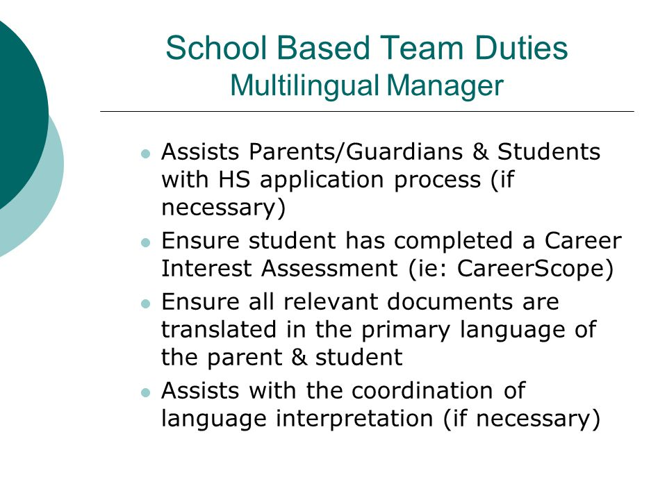 School Based Team Duties Multilingual Manager
