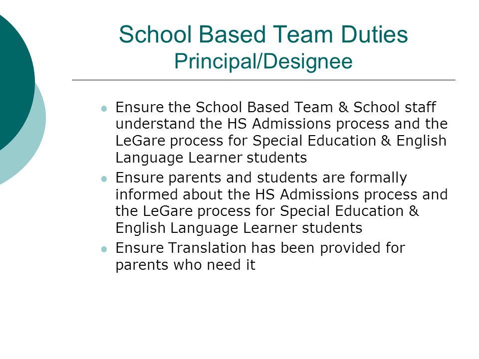 School Based Team Duties Principal/Designee