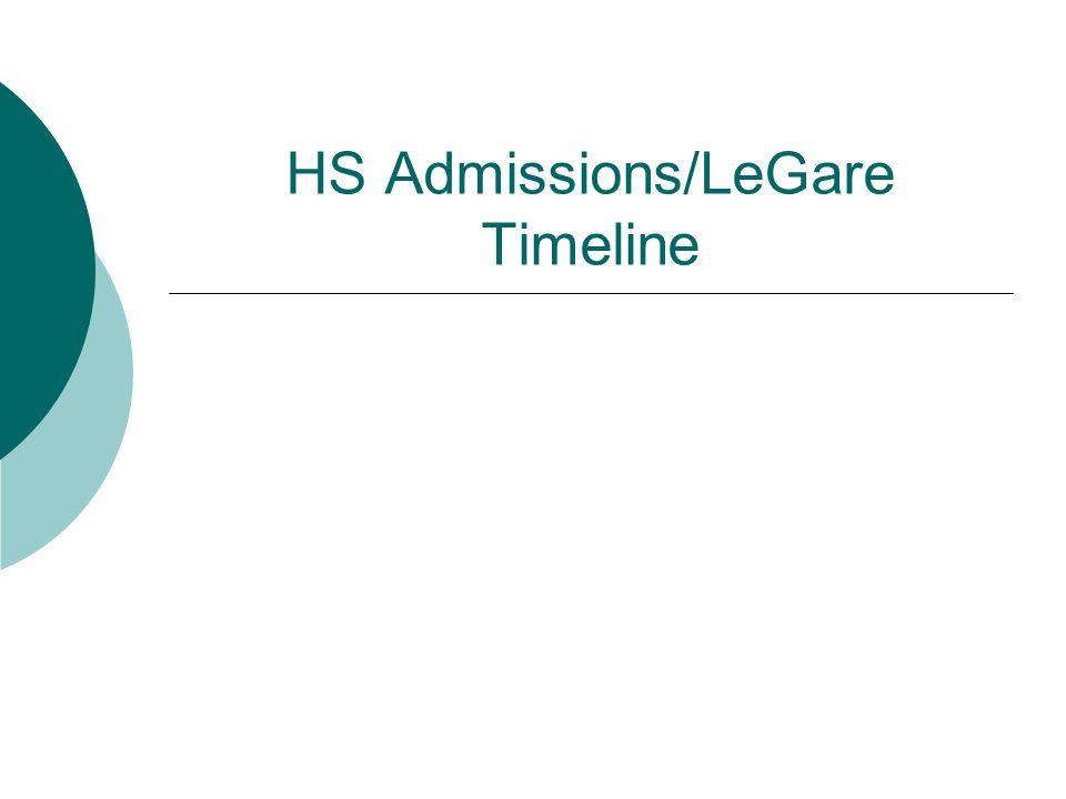 HS Admissions/LeGare Timeline