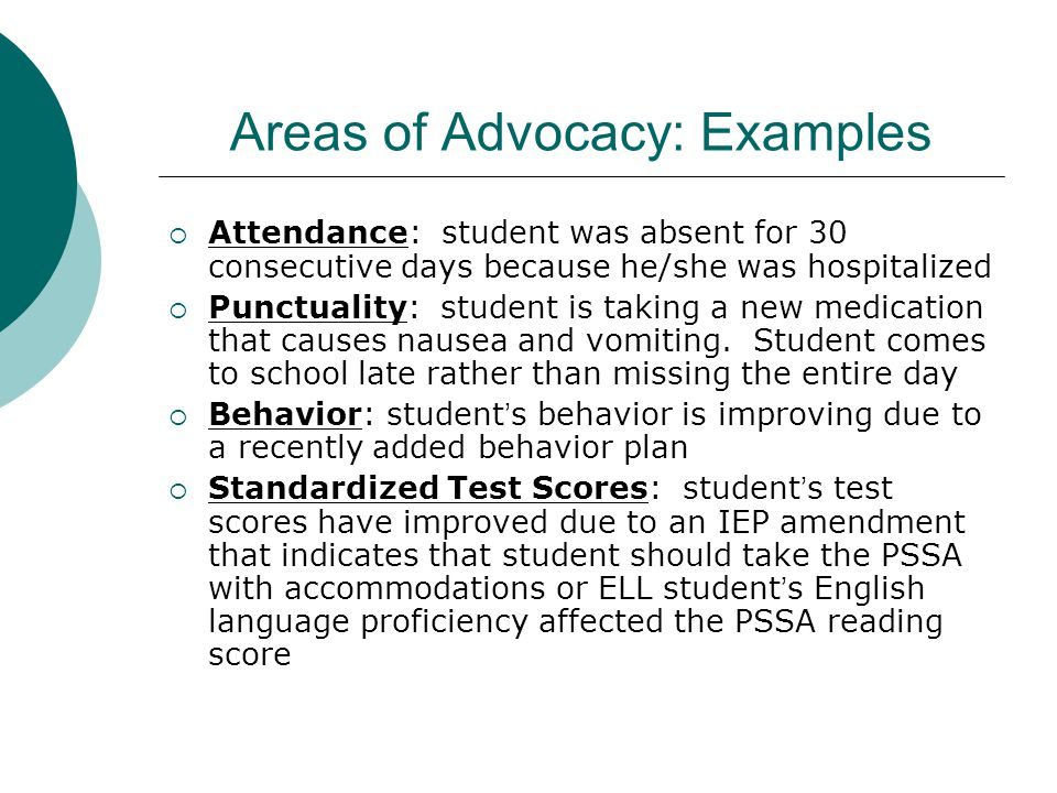 Areas of Advocacy: Examples