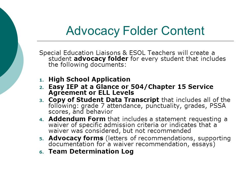 Advocacy Folder Content
