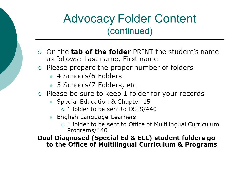 Advocacy Folder Content (continued)