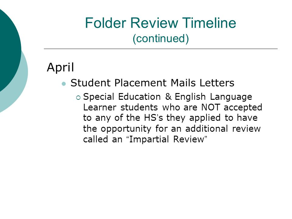 Folder Review Timeline (continued)