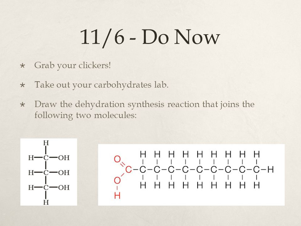 11/6 - Do Now Grab your clickers! Take out your carbohydrates lab.