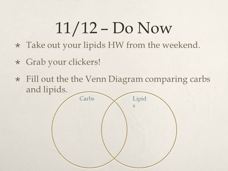 11/12 – Do Now Take out your lipids HW from the weekend.