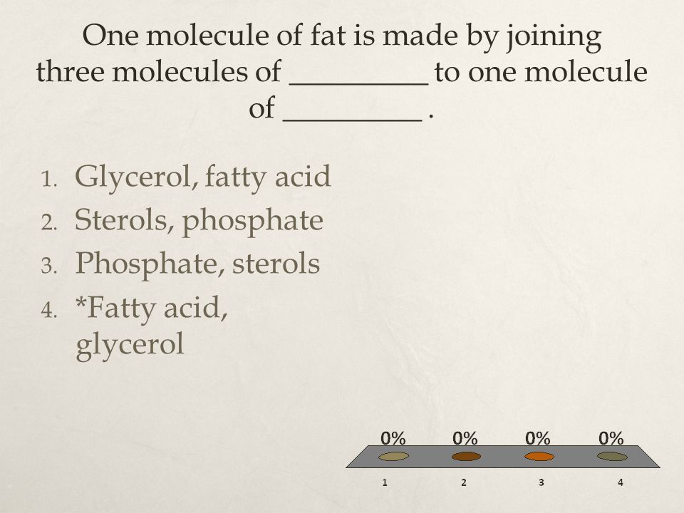 One molecule of fat is made by joining three molecules of _________ to one molecule of _________ .