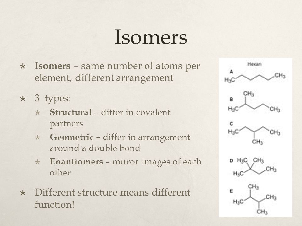 Isomers Isomers – same number of atoms per element, different arrangement. 3 types: Structural – differ in covalent partners.