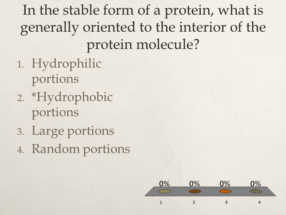In the stable form of a protein, what is generally oriented to the interior of the protein molecule
