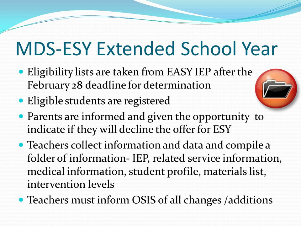 MDS-ESY Extended School Year
