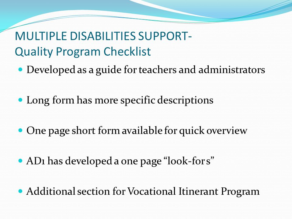 MULTIPLE DISABILITIES SUPPORT- Quality Program Checklist