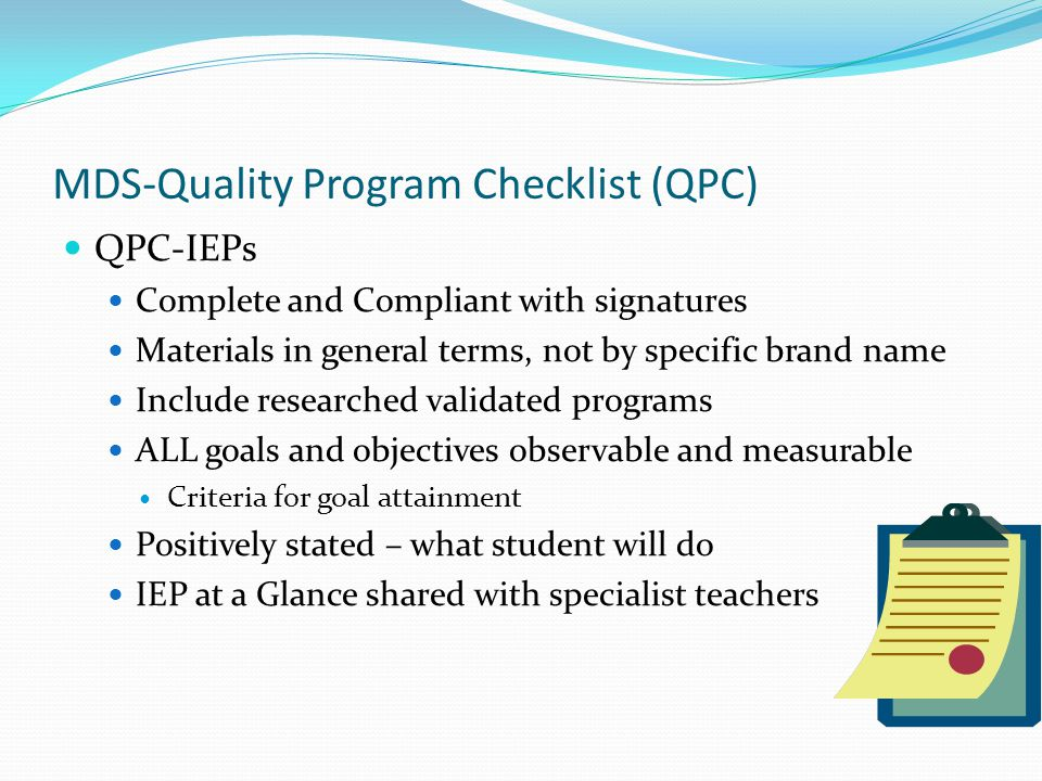MDS-Quality Program Checklist (QPC)