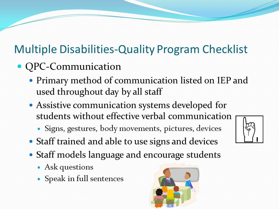 Multiple Disabilities-Quality Program Checklist