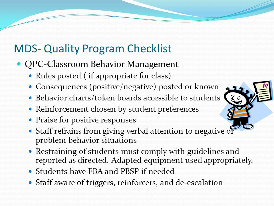 MDS- Quality Program Checklist