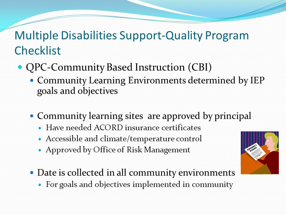 Multiple Disabilities Support-Quality Program Checklist
