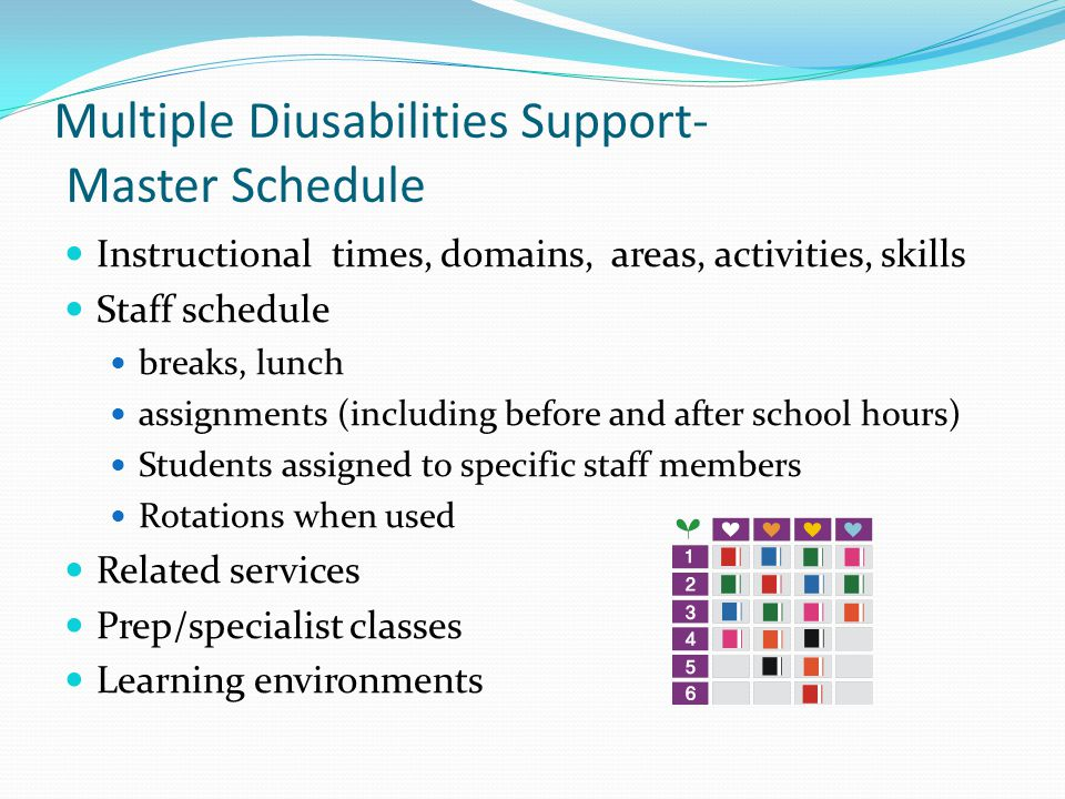 Multiple Diusabilities Support- Master Schedule