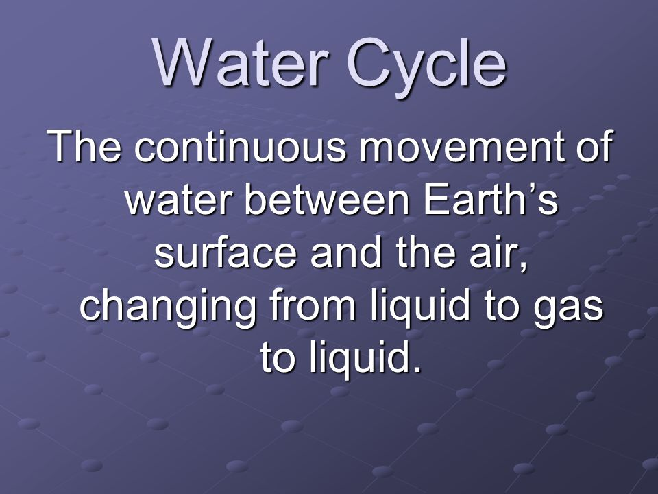Water Cycle The continuous movement of water between Earth's surface and the air, changing from liquid to gas to liquid.