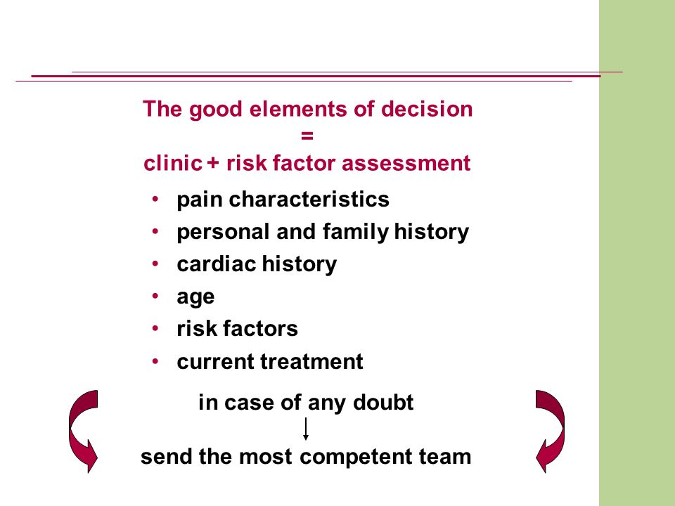 The good elements of decision = clinic + risk factor assessment