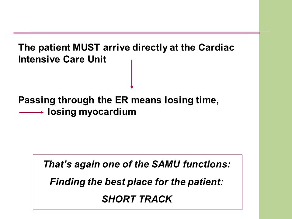 The patient MUST arrive directly at the Cardiac Intensive Care Unit