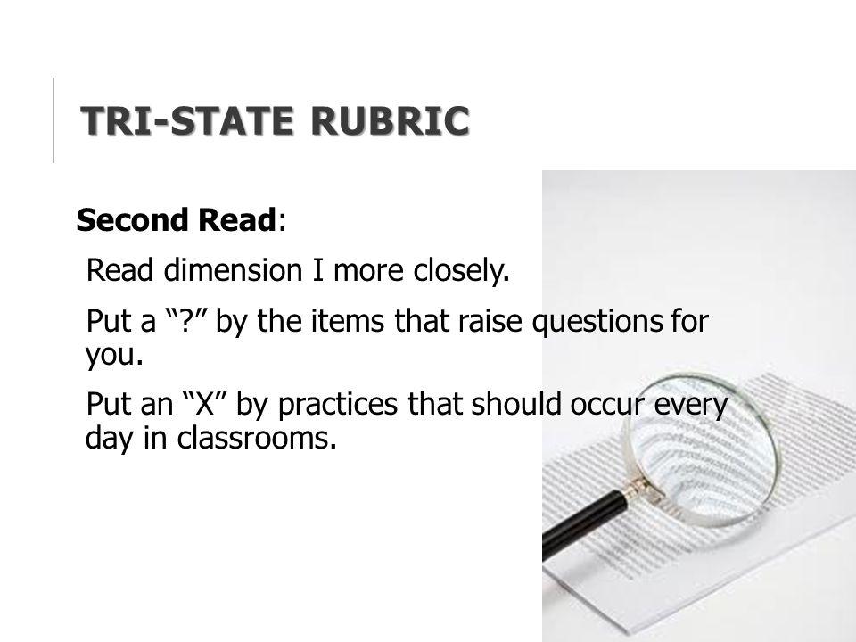 Tri-State Rubric Second Read: Read dimension I more closely.