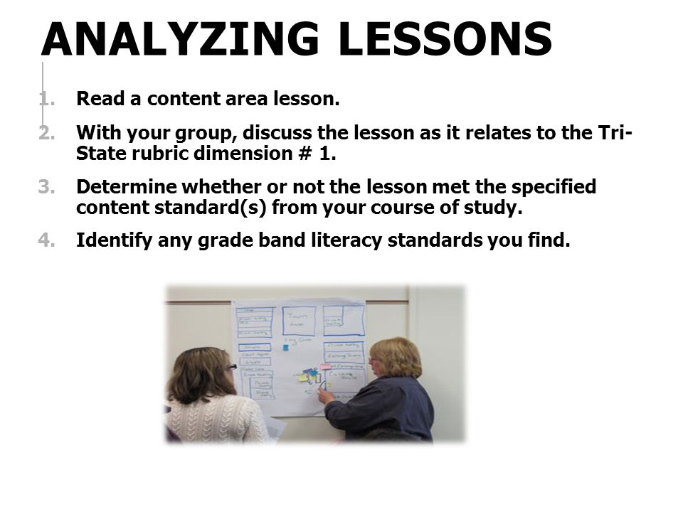 Analyzing Lessons Read a content area lesson.