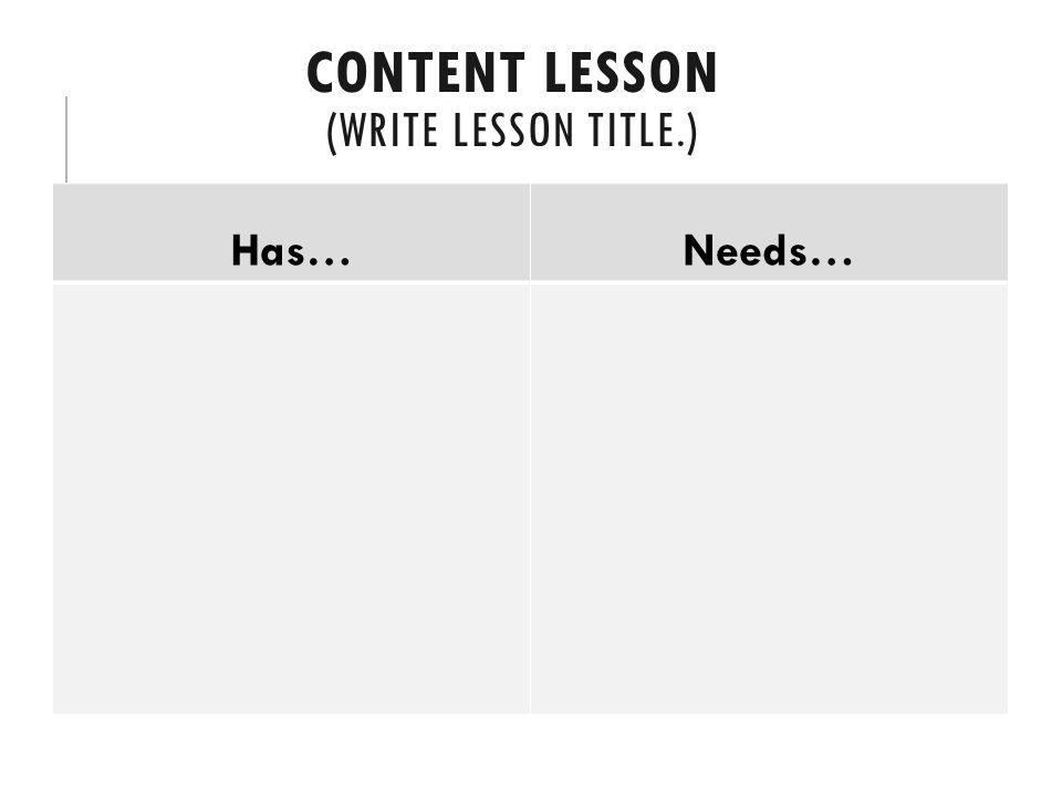 Content Lesson (Write lesson title.)