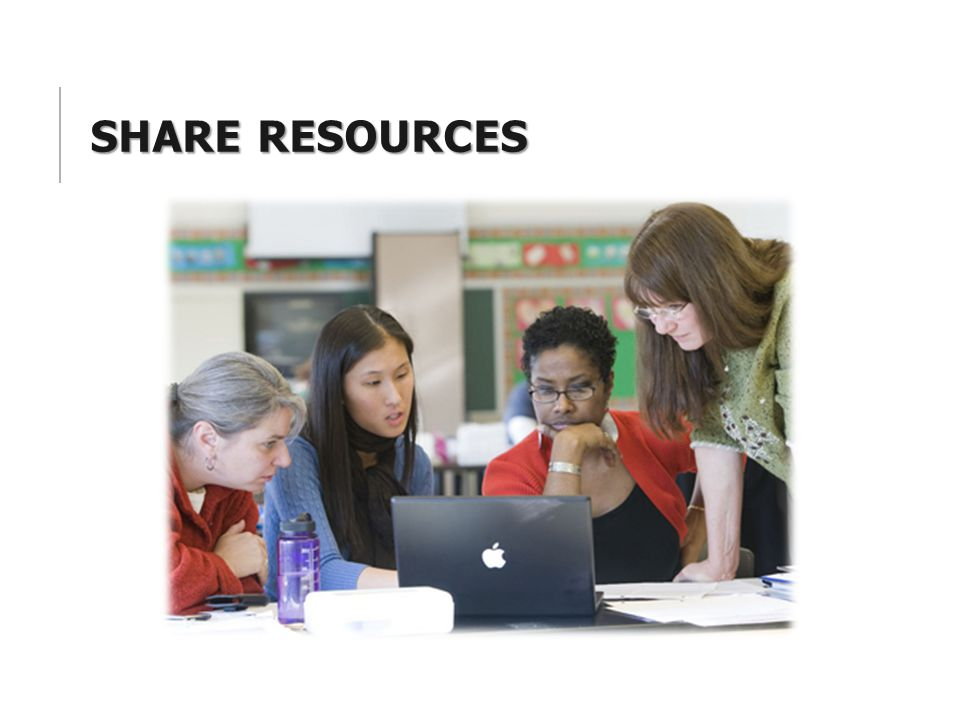 Share Resources Some ideas: 1. Face to face District-wide by content