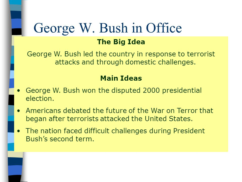 George W. Bush in Office The Big Idea