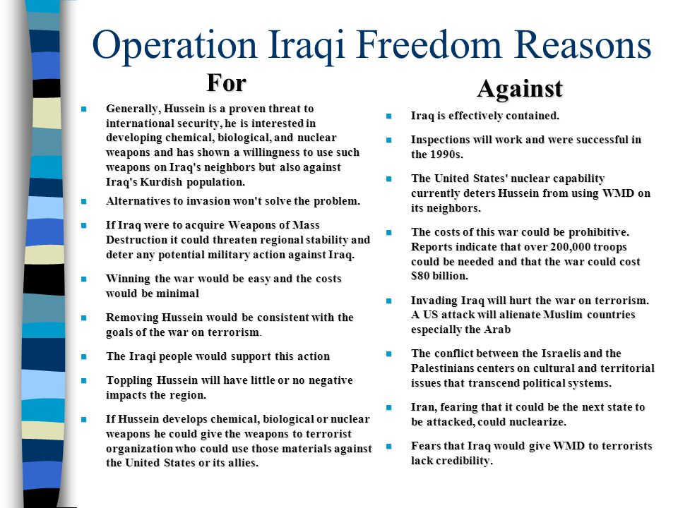 Operation Iraqi Freedom Reasons