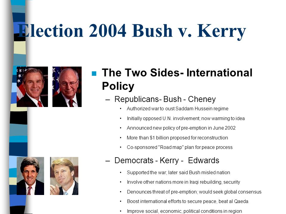 Election 2004 Bush v. Kerry The Two Sides- International Policy