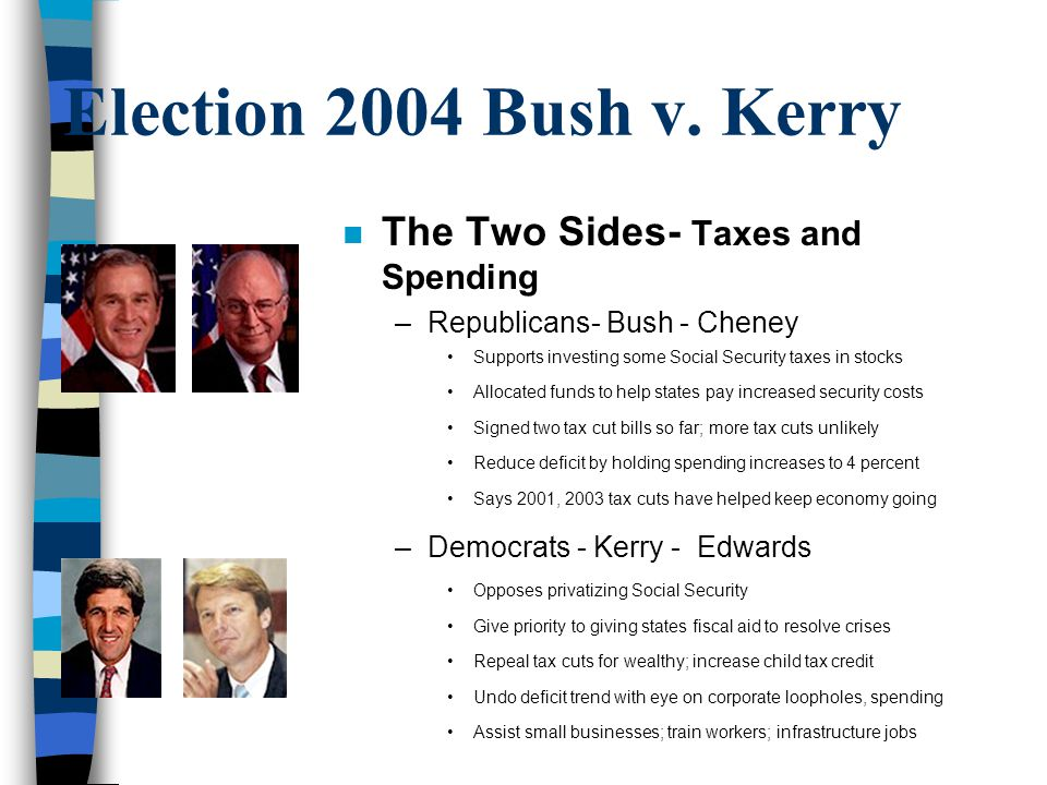 Election 2004 Bush v. Kerry The Two Sides- Taxes and Spending