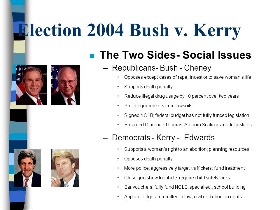 Election 2004 Bush v. Kerry The Two Sides- Social Issues