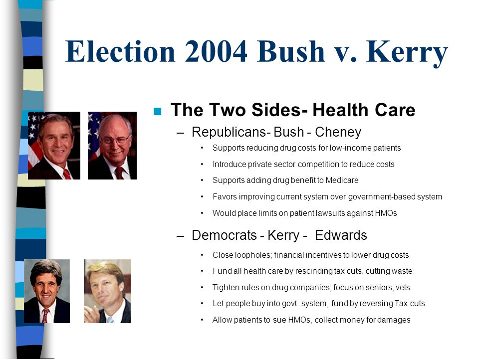 Election 2004 Bush v. Kerry The Two Sides- Health Care