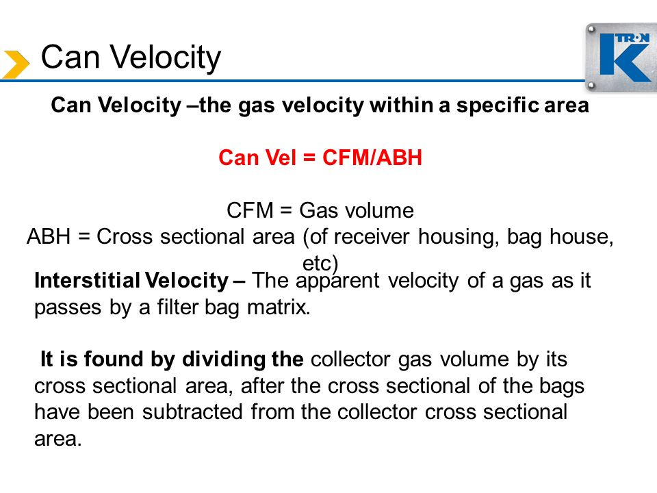 Can Velocity –the gas velocity within a specific area