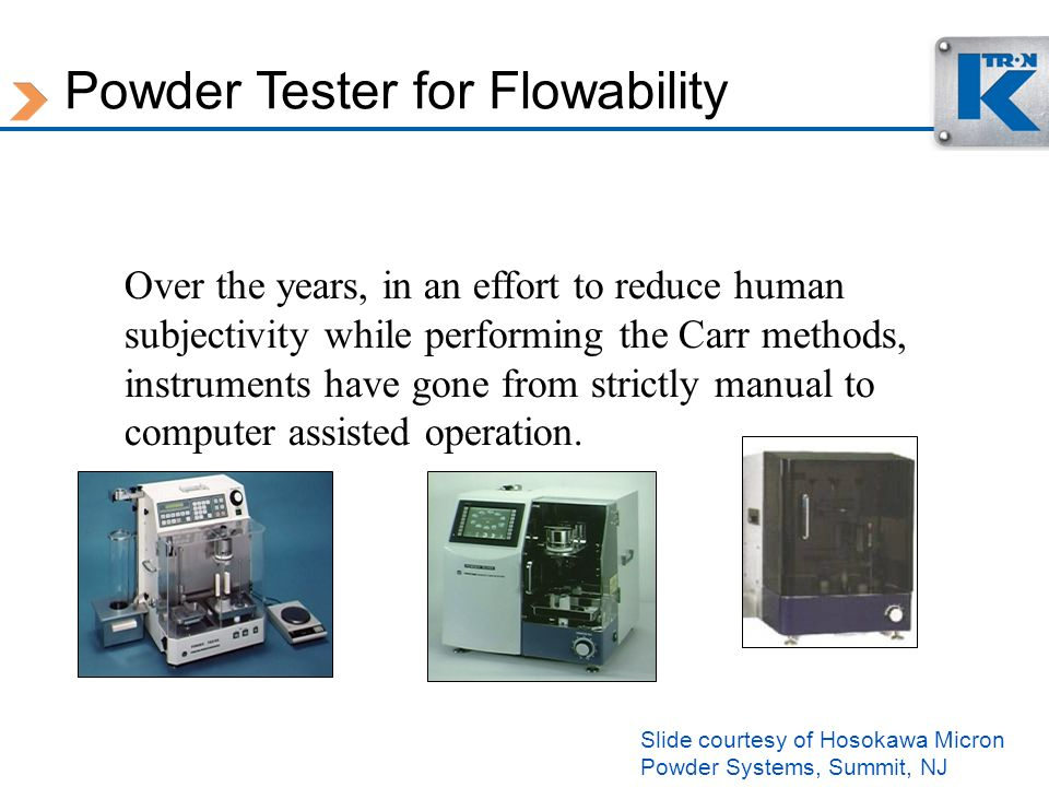 Powder Tester for Flowability