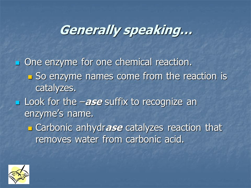 Generally speaking… One enzyme for one chemical reaction.