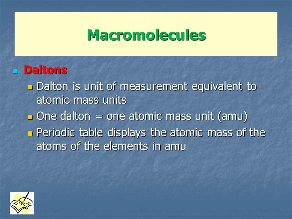 Macromolecules Daltons