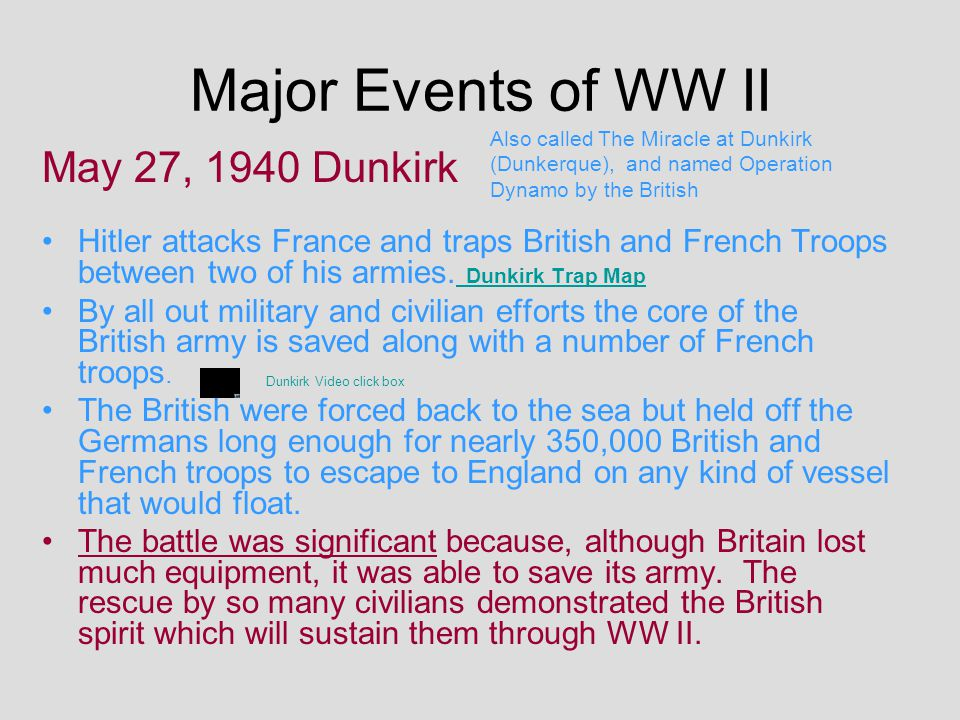 Major Events of WW II May 27, 1940 Dunkirk