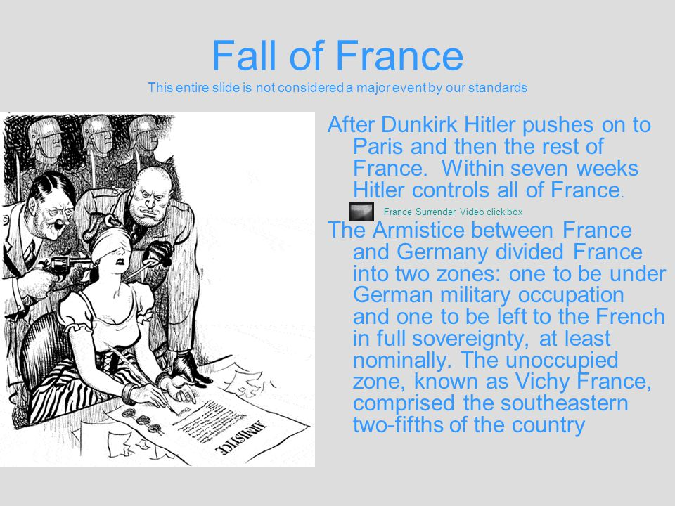 Fall of France This entire slide is not considered a major event by our standards