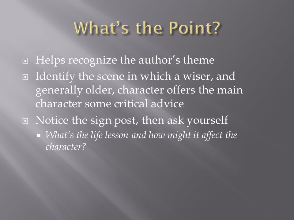 What's the Point Helps recognize the author's theme