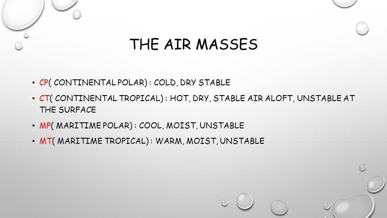 The Air Masses cP( continental polar) : cold, dry stable