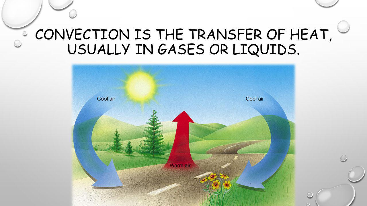 Convection is the transfer of heat, usually in gases or liquids.