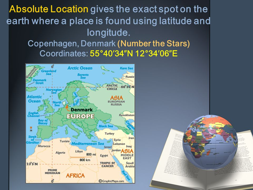 Absolute Location gives the exact spot on the earth where a place is found using latitude and longitude.